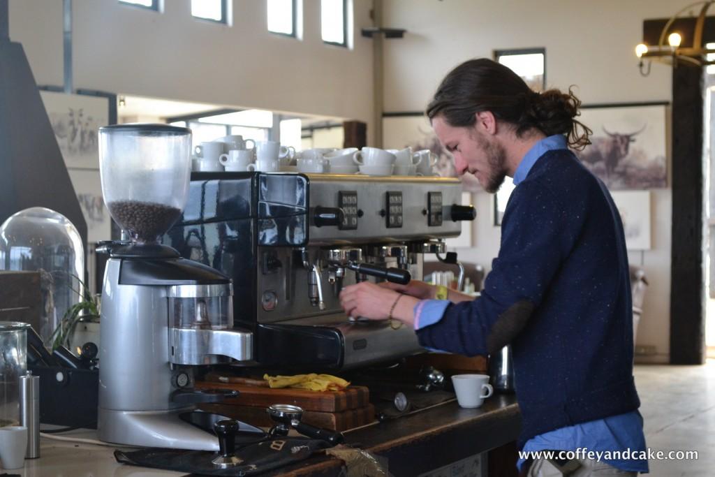 Josh making espresso